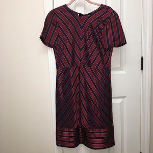 JCrew open back, red navy stripe dress, 6!